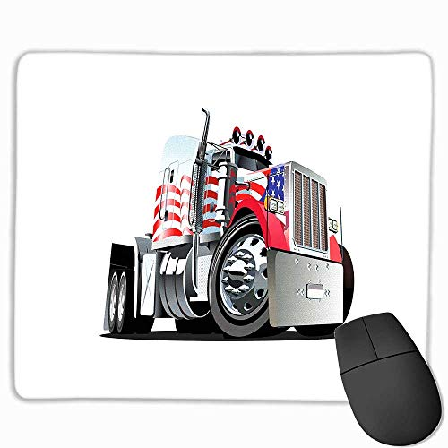 Truck Nonslip Rubber Base American Flag Themed Semi 18 Wheeler Patriotic Transportation Industrial Vehicle Custom Mouse pad 8.5