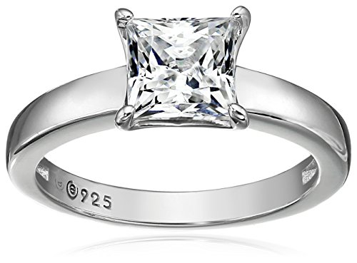 (Platinum-plated Sterling Silver Princess-Cut Solitaire Ring made with Swarovski Zirconia (1 cttw), Size)