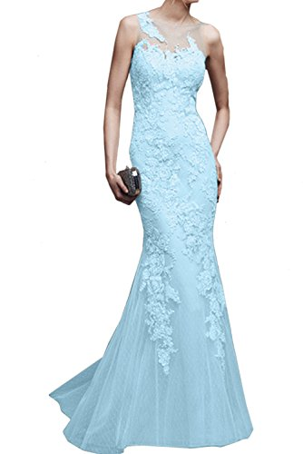 Ivydressing Promkleider Hellblau Spitze Elegant Lang Meerjungfrau Ballkleid Abendkleider Damen rqaOwTr