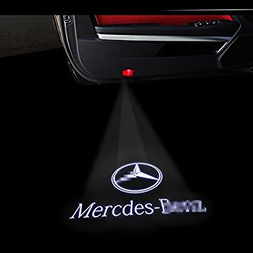 2 Pcs Wireless Car Door Logo Light Welcome Projector for Mercedes-Benz Ghost Shadow Light Lamp Logos for Benz Benz A