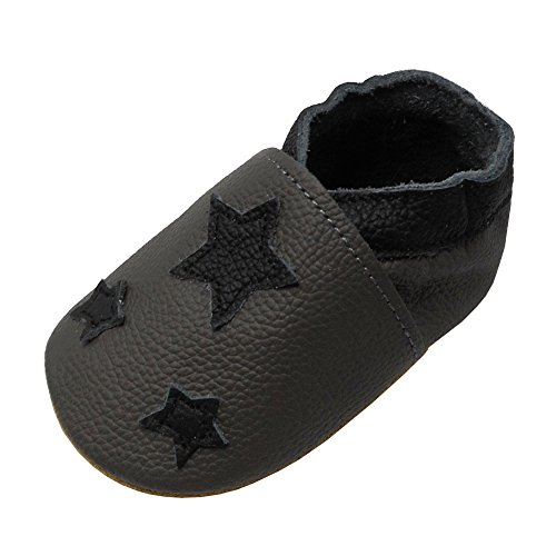 YIHAKIDS Soft Sole Leather Baby Shoes Toddler Moccasins Prewalker Baby Slippers (12-18 Months Infant, Dark Gray-1)