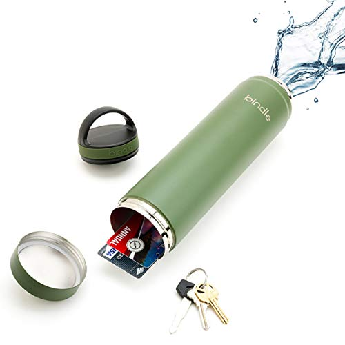 🥇 Bindle Bottle 20oz Slim Avocado Green   Stainless Steel Double Walled & Vacuum Insulated Water Bottle with Storage/Stash Compartment   Cup Holder Friendly   Drinks Stay Cold for 24 Hours