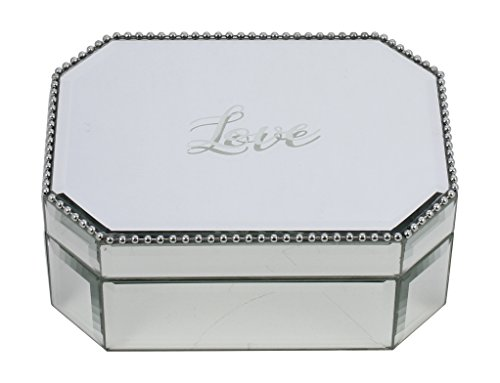 Dresser Metal Mirror - Kenton Grey Glass Jewelry Organizer – Tabletop Metal & Glass Jewelry Display Organizer Ring Tray to Organize Bracelets, Earrings, Rings & Watches,