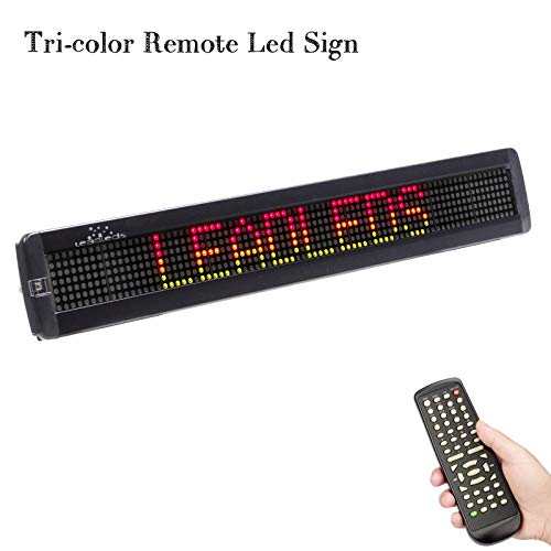 Leadleds RGY Tri-Color Remote Programmable Scrolling LED Message Board, Indoor Use for Business, Store, Car, Bar, School (26