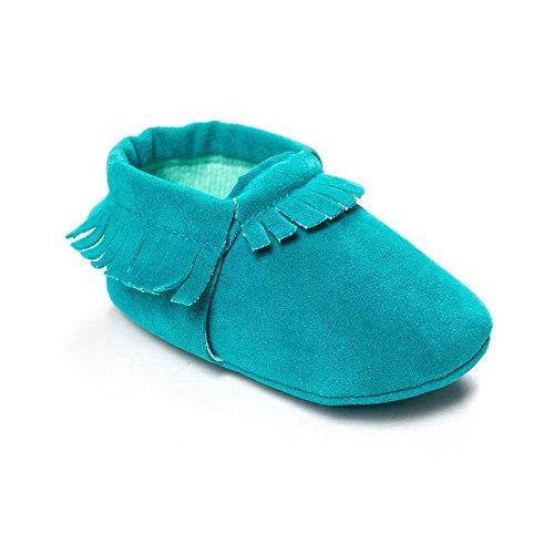 Kuner Baby Boys Girls Tassel Soft soled Non-Slip Crib Shoes Moccasins First Walkers (11cm(0-6months), Blue-1)