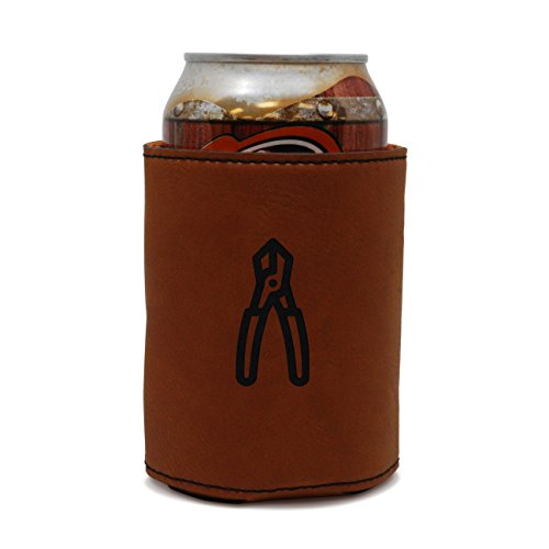(MODERN GOODS SHOP Leather Can Cooler With Diagonal Pliers Engraving - Oil, Stain, and Water Resistant Beer Hugger - Standard Size Beer and Soda Can Sleeve)