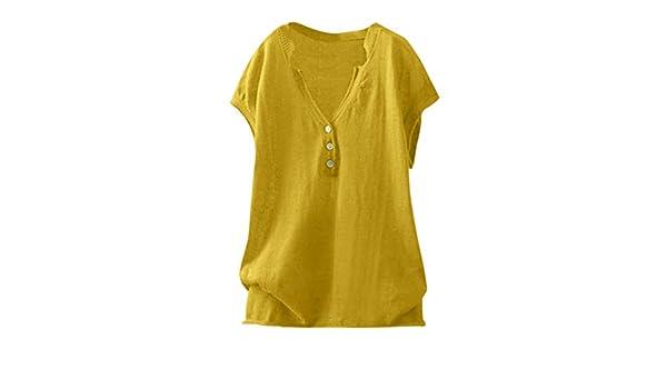 Wave166 Moda para Mujer Camiseta Casual Cuello en V Talla Grande ...