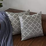 Keynotes Grey Throw Pillow Covers 18 x 18,Accent Geometric Square Cushion Covers Cases Set of 2,Home Decorative Egg Throw Pillow Cases Shams with Zipper for Couch Bed Sofa Chair