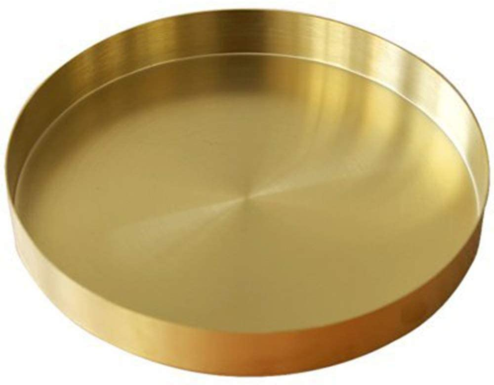 UniDes - Round Brass Tray,Small Gold Decorative Tray Metal Storage Organizer Tray for Modern Home,Matte Brass Finish | 5.5 Inch