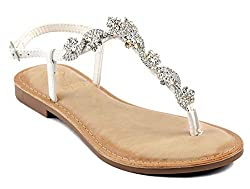 Jeweled T-Strap Flat Thong Sandal