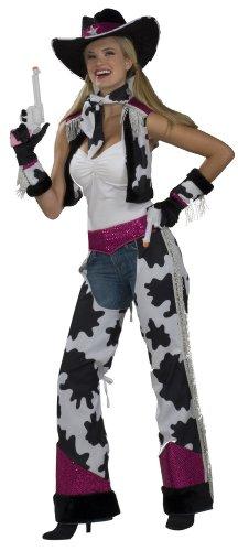 Forum Novelties Women's Glamour Cowgirl Costume, Black/White/Pink, Standard