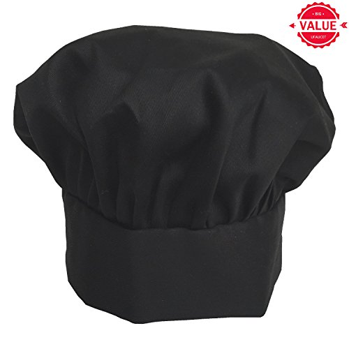 Executive Chef Pants (Ufaucet Elastic Band Design 80% Cotton Black Easy Clean Adjustable Durable Executive Chef Hat, Chef Hats for Adults)