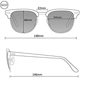 WearMe Pro - Classic Half Frame Polarized Semi-Rimless Rimmed Sunglasses