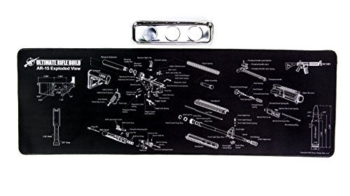 Ultimate Rifle Build Large Gun Cleaning Mat with Exploded Parts Diagram & Bonus Magnetic Parts Tray; Non-Slip & Solvent Resistant pad; Stitched Edges - 36x12