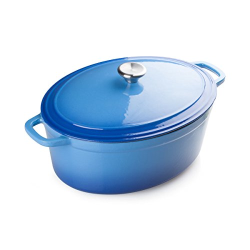 FortheChef 7 Qt. Enamel Cast Iron Oval Dutch Oven, Blue