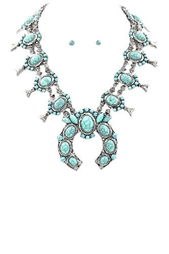 [ARIS Southwestern Navajo Tribal Squash Blossom Necklace Bundle: Necklace, Earrings & Bag (Chunky] (Simple 3 People Costumes)