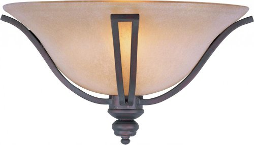 - Maxim 10179WSOI Madera 1-Light Wall Sconce, Oil Rubbed Bronze Finish, Wilshire Glass, MB Incandescent Incandescent Bulb , 100W Max., Damp Safety Rating, Standard Dimmable, Glass Shade Material, 8050 Rated Lumens