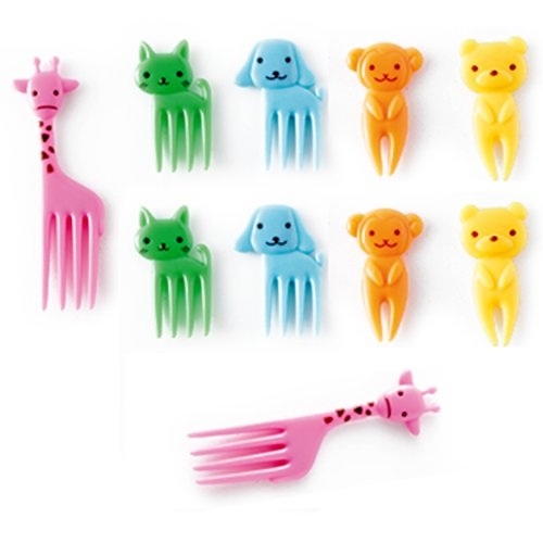 CuteZCute Bento Food Pick Fork, 10-Piece, Giraffe, Dog, Cat, Bear, Monkey (Color may vary)