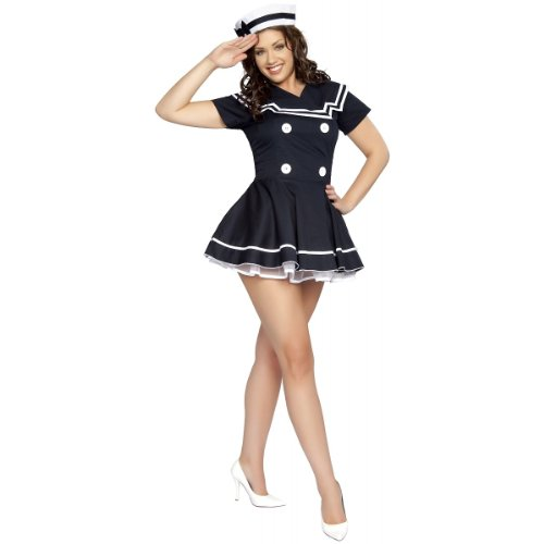 (Pin-Up Captain Adult Costume Navy Blue -)