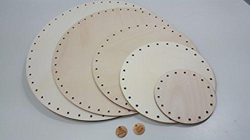 3 Peddigrohr Böden 9 cm rund, mit Handmade Holzlabel
