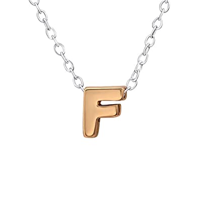 b2e0a46fb459 So Chic Joyas© collar cadena longitud 45 cm inicial letra F Vermeil (oro  rosa