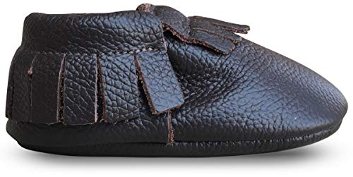 Lucky Love Baby Moccasins, Genuine Leather Brown Size 6.5 M US