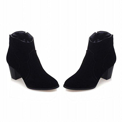 Carolbar Womens Zip Retro Fashion Party Mid Heel Short Boots Black sWCah