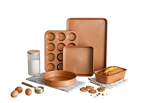 Gotham-Steel-Cookware-Bakeware-Set-with-Nonstick-Durable-Ceramic-Copper-Coating–Includes-Skillets-Stock-Pots-Deep-Square-Fry-Basket-Cookie-Sheet-and-Baking-Pans-20-Piece-Graphite