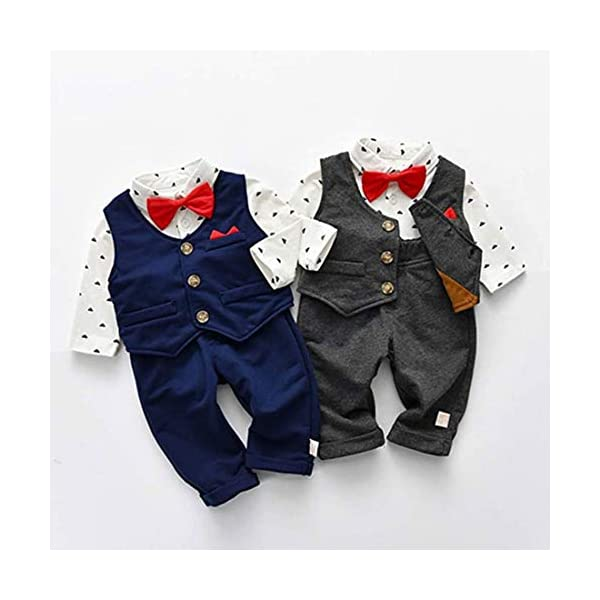 Fairy Baby Neonati 3 Pezzi Vestito Formale Toddlers Gentleman Body + Vest + Pants 7