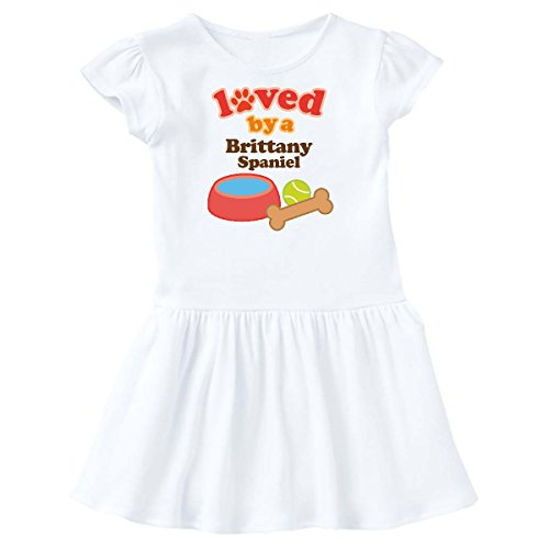 Dog Breed Brittany Spaniel - inktastic - Brittany Spaniel Loved by A (Dog Breed) Toddler Dress 3T White 10532