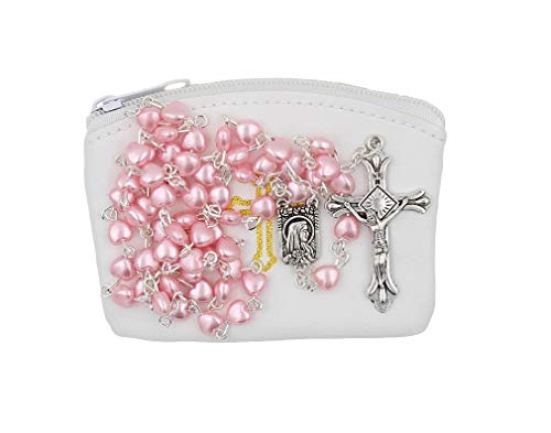 (Christian Living Pink Pearlized Finish Heart Bead Rosary with White Zippered Rosary Case)