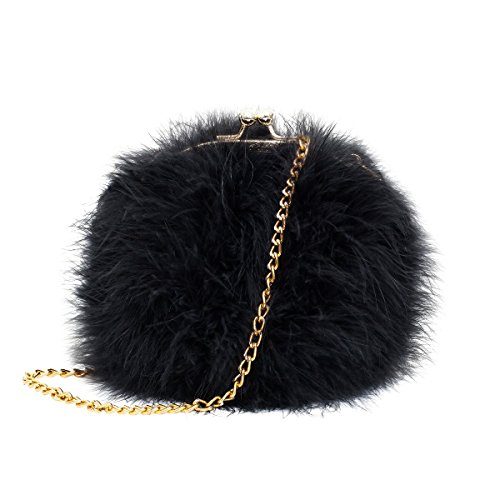 Mogor Women's Faux Fur Fluffy Feather Round Clutch Shoulder Bag Black Fur Shoulder Bag