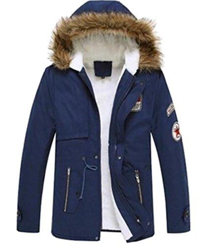 Inverno Del Oggi Uomini Rivestimento In Sintetica Di Cappuccio Blu Con uk Outwear Caldo Cappotto Foderato Pelliccia Degli 8qHr8O