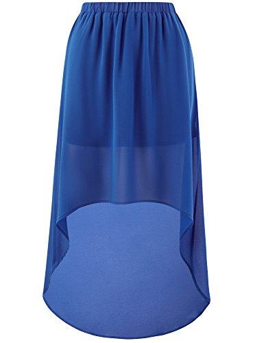 avec 7500n Mousseline Ultra oodji Asymtrique Bas Jupe Bleu en Femme Xq7SFvwP