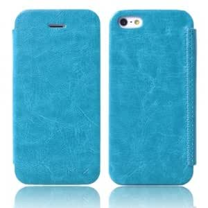 Flip-open Leather Protective PC Case for iPhone 5/5S Blue