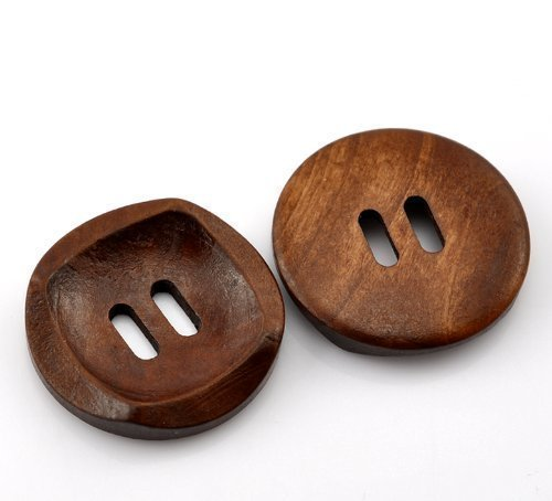 10 Beautiful Coffee Brown Wooden 4 Holes Round Wood Sewing Buttons 30mm Diy Wedding & Crafts