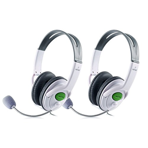 Insten [2 Pack] Gaming Headset Chat Headphone with Mic Microphone for Xbox 360 Live Wireless Controller, White
