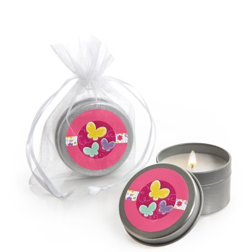 Playful Butterfly and Flowers - Candle Tin Baby Shower Favors - Set of 12
