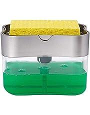 Soap Pump Dispenser and Sponge Holder for Kitchen Sink Dish Washing Soap Dispenser, 13 Ounces
