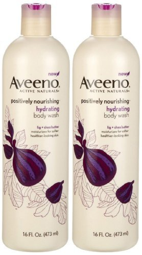 Aveeno Positively Nourishing Hydrating Body Wash, Fig + Shea Butter, 16 Ounce (Pack of 2)