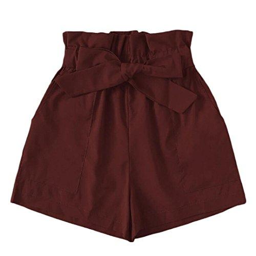 Summer Clearanc!Women Pocket Loose Hot Pants Beach Bow Shorts Trousers by-NEWONESUN