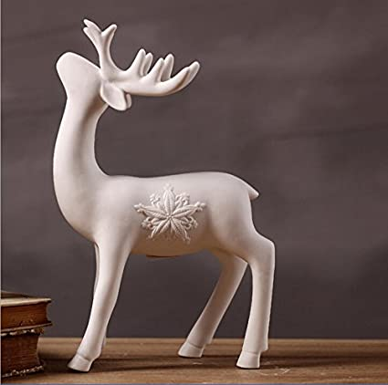 greencherry christmas decor deer ceramic standing matte white reindeer figurine statue white 01