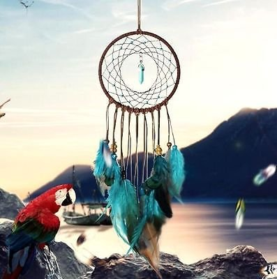"""EatingBitiing(R)Dream Catcher Wall Hanging , Handmade Traditional Feather Wall Hanging Lucky Home Decoration Decor Ornament Craft Gift (Green and Brown) 5.1"""" Diameter 19.6"""" Long"""