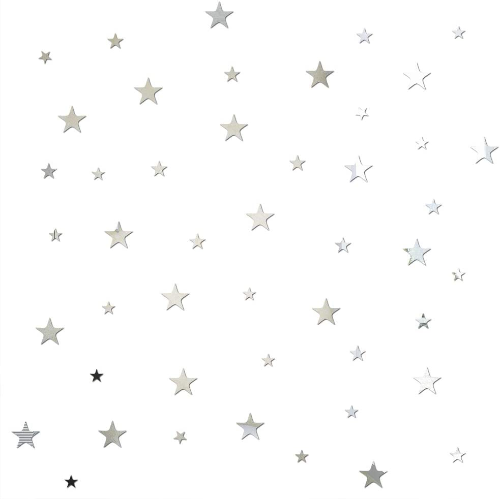Stars 47 Pieces 3D Mirror Crystal Wall Stickers Acrylic Five-Pointed Star DIY Detachable Bedroom Living Room Children's Room Wall Decoration(Silver)