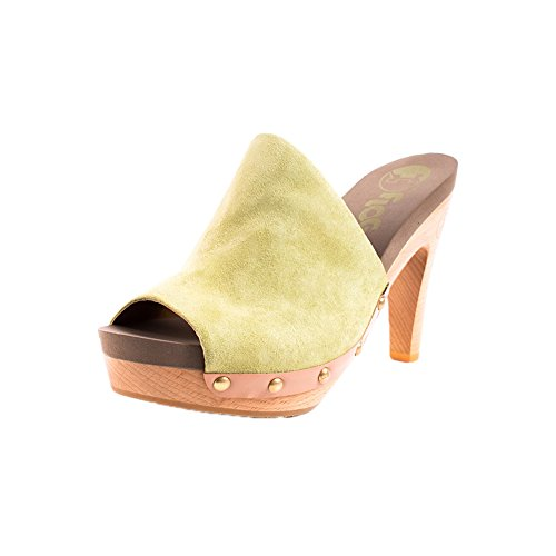 FLOGG Women's Socialite High Cut Mules, Olive Leather, Wood, Foam, 7 (Heel Leather Mule)