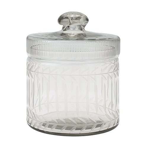(Stonebriar Clear Cut Glass Storage Container with Lid, Decorative Jar for Cotton Ball or Cotton Swab Storage, Unique Keepsake or Trinket Box, Elegant Jewelry)
