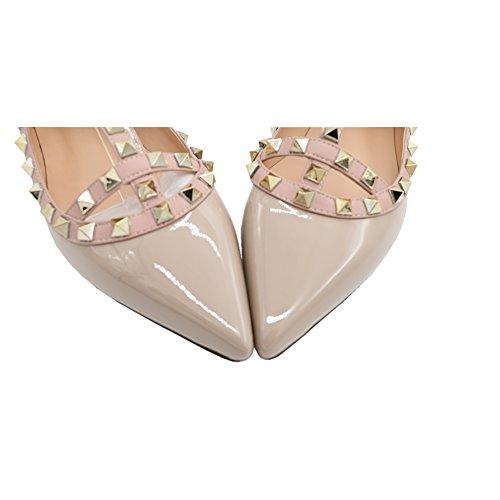 EKS Damen Niets Spitze Ankle Strap Stilett Ballerinas Flache Schuhe Flache Schuhe EU 35-46 Apricot-Lackleder