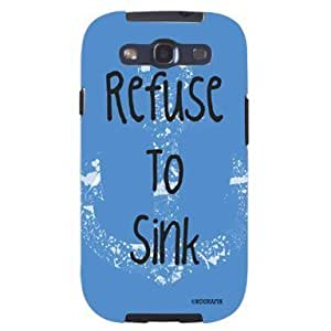 Refuse To Sink Blue Navy Anchor Unique Quality Soft Rubber TPU Case for Samsung Galaxy S3 SIII i9300 - White Case