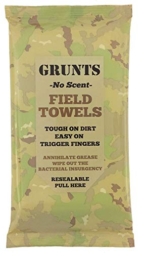 Grunts No Scent Field Wash Towels | Wipes for Hunting, Outdoors, Camping 20/Pack (1 Pack, 20 Total Wipes)