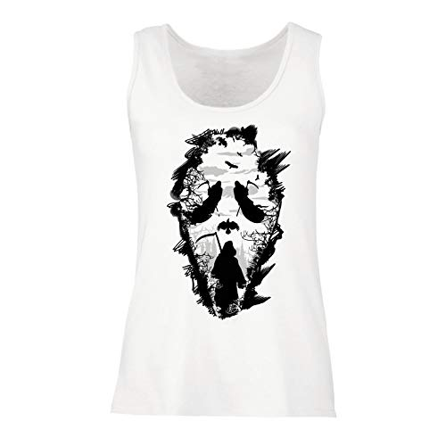 lepni.me Women's Tank Top Tribal Grim Reaper Scream - Death Creepy Scary (XX-Large White Multi Color) ()